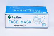 Медицински маски за лице, трислойни, с ластици, син, 50 бр.