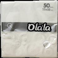"""Салфетки за маса """"O'La La Prestige"""" бели, 33 х 33 см"""