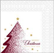 Коледни салфетки, бели с Коледна елха, 33 х 33 см, 2 пл., 85 бр.