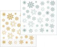 Коледни салфетки, бели със снежинки, 33 х 33 см, 2 пл.,130 бр.