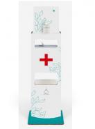 TTS Картонена стойка за дезинфектант, отделение за ръкавици/кърпи и отделение за отпадъци